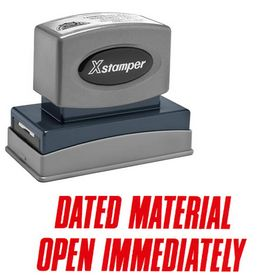 Dated Material Open Immediately Xstamper Stock Stamp