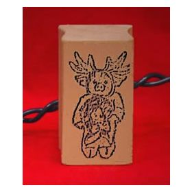 Pig Reindeer Art Rubber Stamp