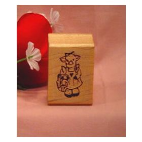Pig with Basket Art Rubber Stamp