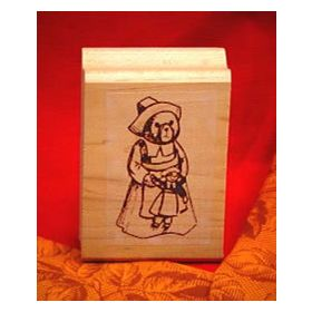 Girl Bear Pilgrim Art Rubber Stamp
