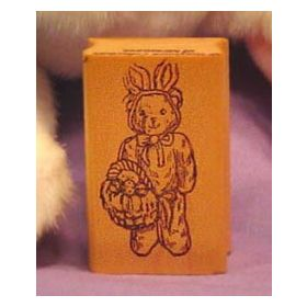 Bear in Costume with Basket Art Rubber Stamp