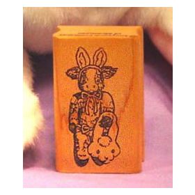 Cow in Costume with Basket Art Rubber Stamp