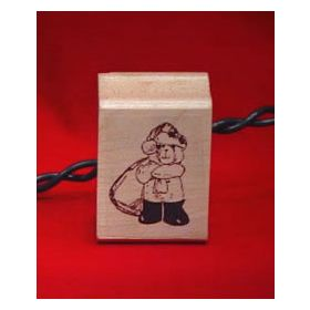Santa Bear with Bag Art Rubber Stamp