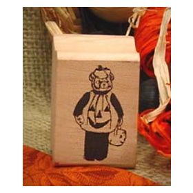 Bear in Pumpkin Costume Art Rubber Stamp