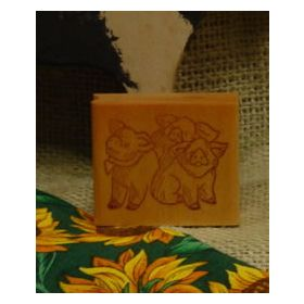 3 Pigs Art Rubber Stamp