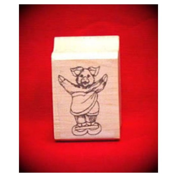 pig on scales art rubber stamp sports stamps acorn sales