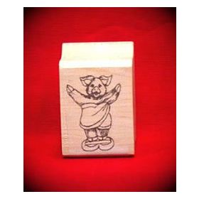 Pig on Scales Art Rubber Stamp