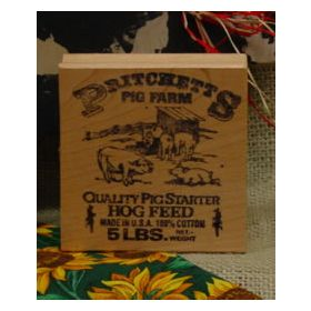 Hog Feed Label Art Rubber Stamp