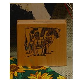 Cow with Calf Art Rubber Stamp