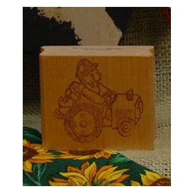 Bear on Tractor Art Rubber Stamp