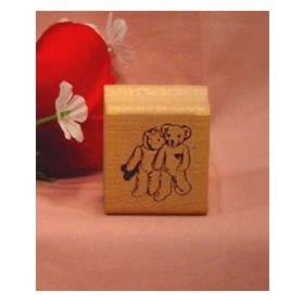 Kissing Bears with Valentines Art Rubber Stamp