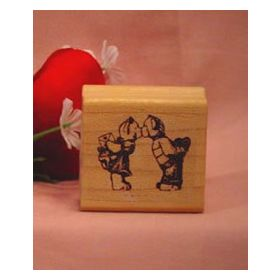 Kissing Bears Art Rubber Stamp