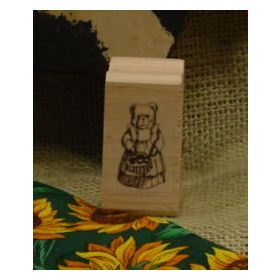 Country Bear with Basket Art Rubber Stamp