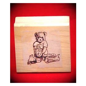 Bear with Turtles Art Rubber Stamp