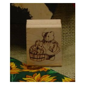 Bear Washing Bear Art Rubber Stamp