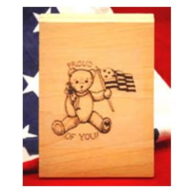 Large Bear Waving Flag Art Rubber Stamp