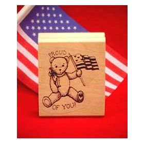 Small Bear Waving Flag Art Rubber Stamp