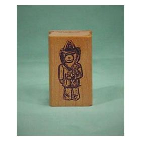 Bear Fireman Art Rubber Stamp