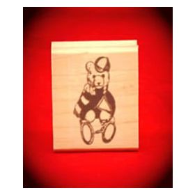 Bear Fan with Pennant Art Rubber Stamp