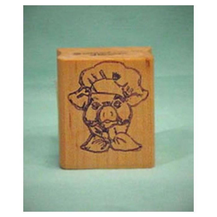 pig chef art rubber stamp occupation stamps acorn sales