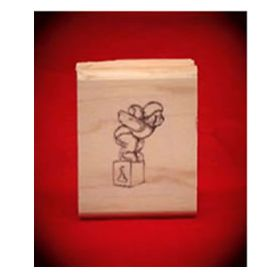 Diving Bear Art Rubber Stamp