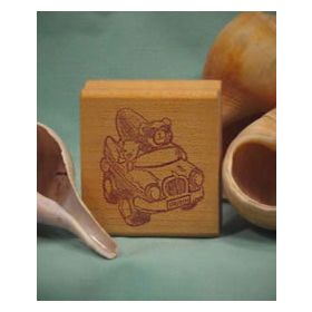 Bear with Surfboard in Car Art Rubber Stamp