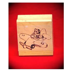 Bear Airplane Pilot Art Rubber Stamp
