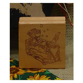 Cow in Wash Trough Art Rubber Stamp