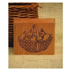 Round Basket of Apples Craft Stamp