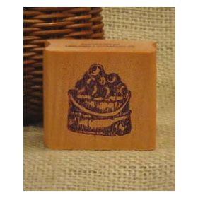 Bucket of Apples Art Rubber Stamp