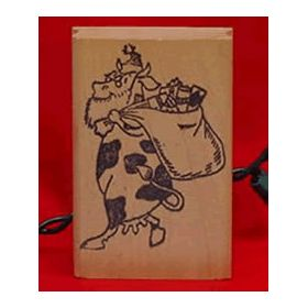 Small Cow Santa with Sack Christmas Stamp