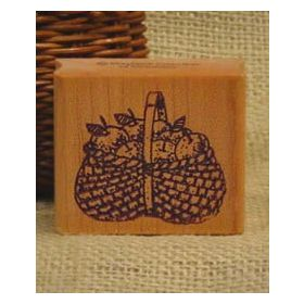 Basket of Apples Rubber Stamp