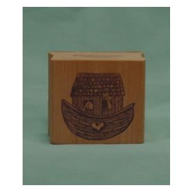 Square Noah's Ark Art Rubber Stamp