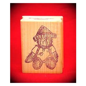 Bear with Flag Hat Art Rubber Stamp