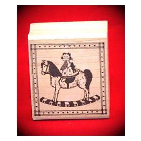 Bear on Rocking Horse Art Rubber Stamp
