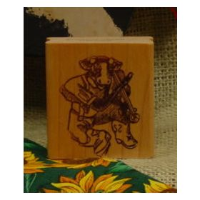 Cow Playing Fiddle Art Rubber Stamp