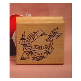 Heart with Arrow Art Rubber Stamp