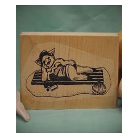 Pig on Beach Blanket Art Rubber Stamp