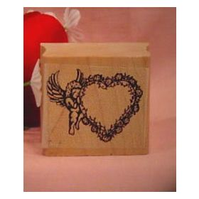 Cupid with Heart Art Rubber Stamp
