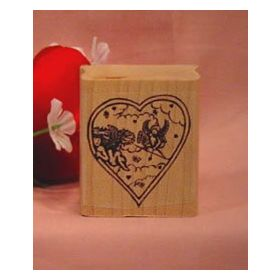 Heart with Cupids Art Rubber Stamp