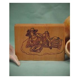 Cow on Beach Blanket Art Rubber Stamp