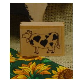 Cow with Heart Spots Art Rubber Stamp
