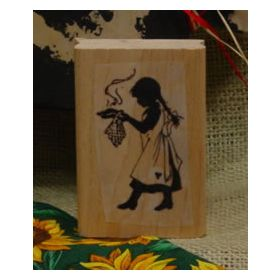 Girl Serving Pie Art Rubber Stamp