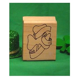 Shamrock with Hat Art Rubber Stamp