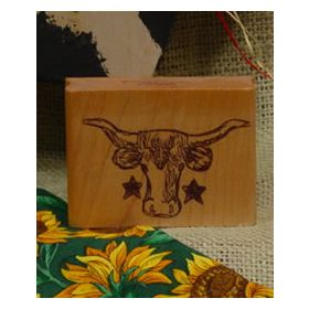 Lone Star Cow Art Rubber Stamp