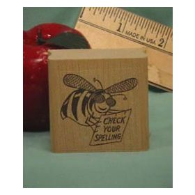 Check Spelling Bee Art Rubber Stamp