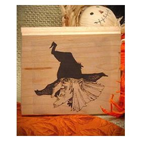 Head of Witch Art Rubber Stamp