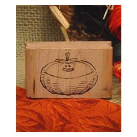 Pumpkin with Face Art Rubber Stamp