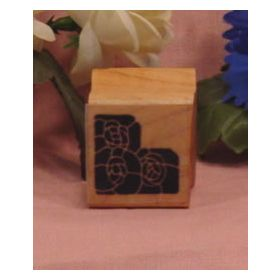 Trio of Solid Flowers Corner Art Rubber Stamp