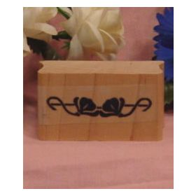 Double Flower Border Art Rubber Stamp
